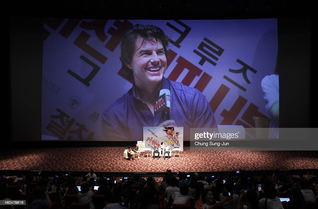 <a gi-track='captionPersonalityLinkClicked' href=/galleries/search?phrase=Tom+Cruise&family=editorial&specificpeople=156405 ng-click='$event.stopPropagation()'>Tom Cruise</a> and <a gi-track='captionPersonalityLinkClicked' href=/galleries/search?phrase=Christopher+McQuarrie&family=editorial&specificpeople=2784110 ng-click='$event.stopPropagation()'>Christopher McQuarrie</a> make a guest appearance at the screening of 'Mission: Impossible - Rogue Nation' at the Superplex G theater, which is largest theater screen in the world at Lotte World Tower Mall on July 31, 2015 in Seoul, South Korea.