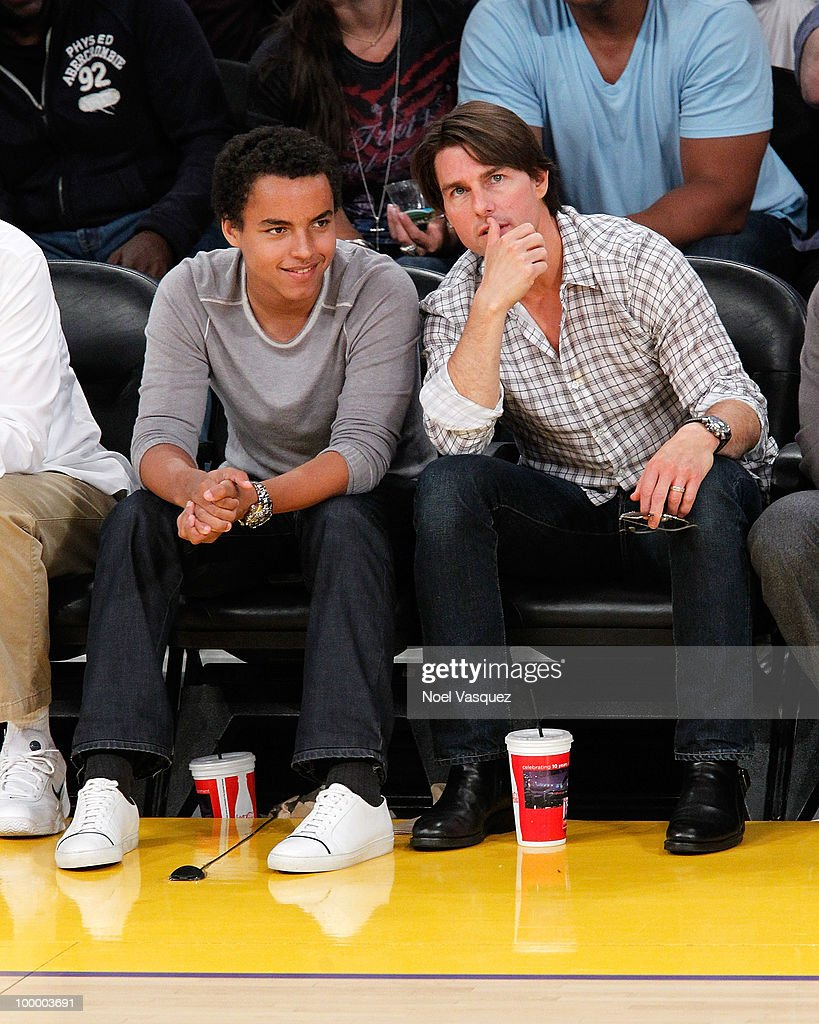 Tom Cruise (R) and Connor Cruise attend Game Two of the Western Conference Finals between the Phoenix Suns and the Los Angeles Lakers during the 2010 NBA Playoffs at Staples Center on May 19, 2010 in Los Angeles, California.