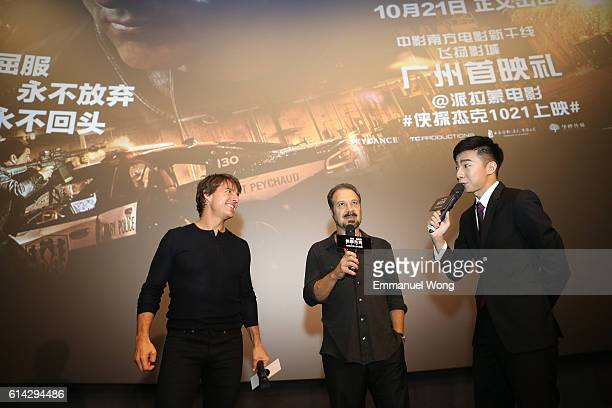 Tom Cruise and Edward Zwick attend the Guangzhou Fan Screening during the promotional tour of the Paramount Pictures title 'Jack Reacher Never Go...
