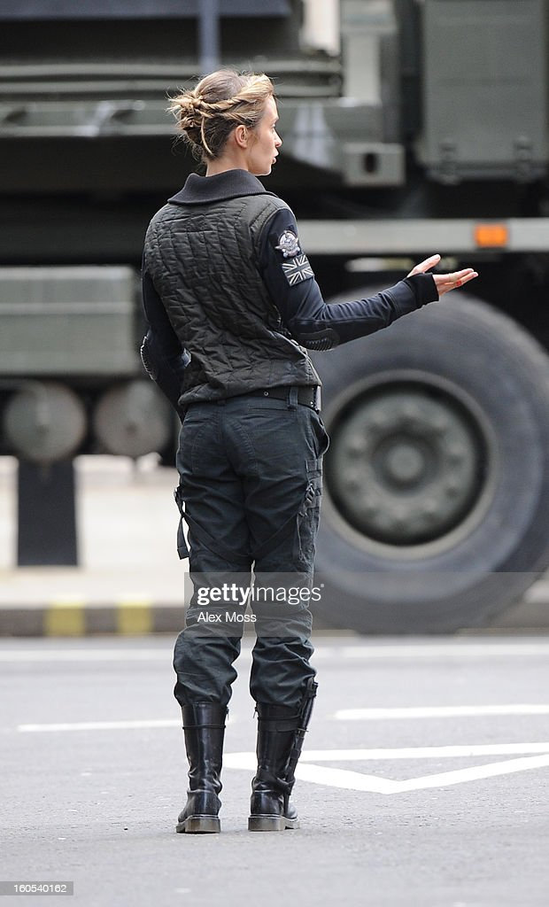 Tom Cruise and Emily Blunt seen on the film set of 'All You Need Is Kill' on February 2, 2013 in London, England.