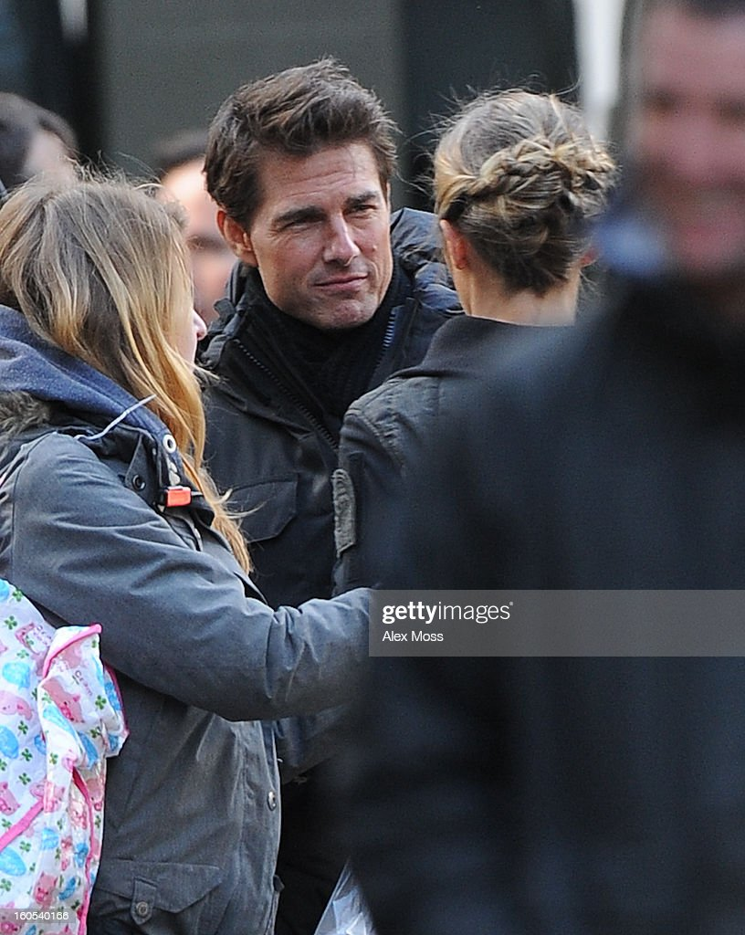 Tom Cruise and <a gi-track='captionPersonalityLinkClicked' href=/galleries/search?phrase=Emily+Blunt&family=editorial&specificpeople=213480 ng-click='$event.stopPropagation()'>Emily Blunt</a> seen on the film set of 'All You Need Is Kill' on February 2, 2013 in London, England.