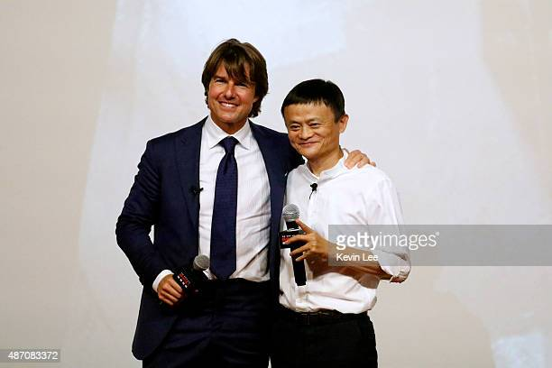 Tom Cruise and Jack Ma poses for a picture at the Shanghai premiere of Mission Impossible Rogue Nation at the Shanghai Film Center on August 6 2015...