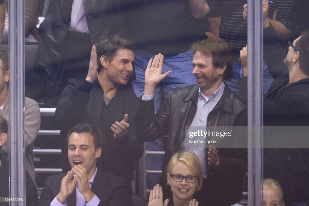 <a gi-track='captionPersonalityLinkClicked' href=/galleries/search?phrase=Tom+Cruise&family=editorial&specificpeople=156405 ng-click='$event.stopPropagation()'>Tom Cruise</a> (L) and <a gi-track='captionPersonalityLinkClicked' href=/galleries/search?phrase=Jerry+Bruckheimer&family=editorial&specificpeople=203316 ng-click='$event.stopPropagation()'>Jerry Bruckheimer</a> attend an NHL playoff game betweent he San Jose Sharks and the Los Angeles Kings at Staples Center on May 23, 2013 in Los Angeles, California.