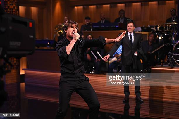 Tom Cruise and Jimmy Fallon 'Lip Sync Battle' during a taping of 'The Tonight Show Starring Jimmy Fallon' at Rockefeller Center on July 27 2015 in...