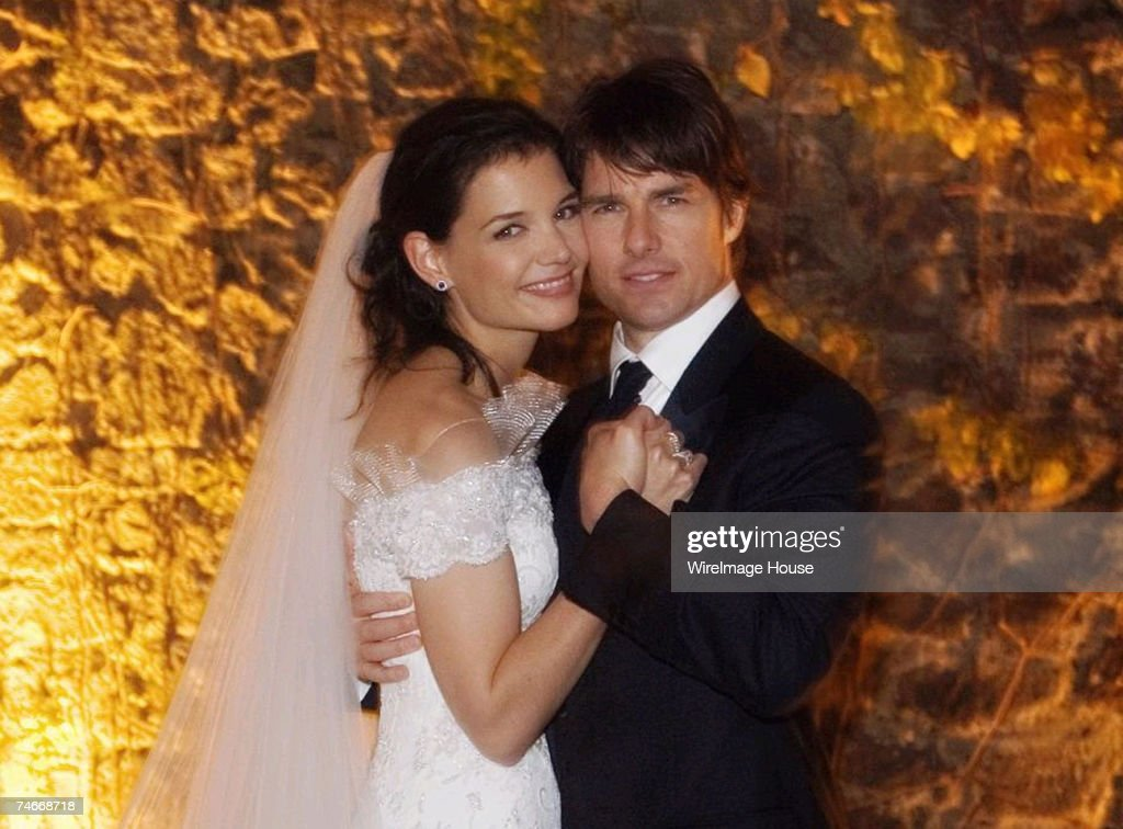 Tom Cruise (right) and Katie Holmes were wed just after sunset on November 18, 2006 at Odescalchi Castle overlooking Lake Braccino outside of Rome, Italy. More than 150 close family and friends were in attendance. Credit: Robert Evans/Handout via WireIma