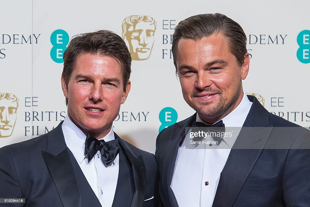 <a gi-track='captionPersonalityLinkClicked' href=/galleries/search?phrase=Tom+Cruise&family=editorial&specificpeople=156405 ng-click='$event.stopPropagation()'>Tom Cruise</a> and <a gi-track='captionPersonalityLinkClicked' href=/galleries/search?phrase=Leonardo+DiCaprio&family=editorial&specificpeople=201635 ng-click='$event.stopPropagation()'>Leonardo DiCaprio</a> pose in the winners room at the EE British Academy Film Awards at The Royal Opera House on February 14, 2016 in London, England.