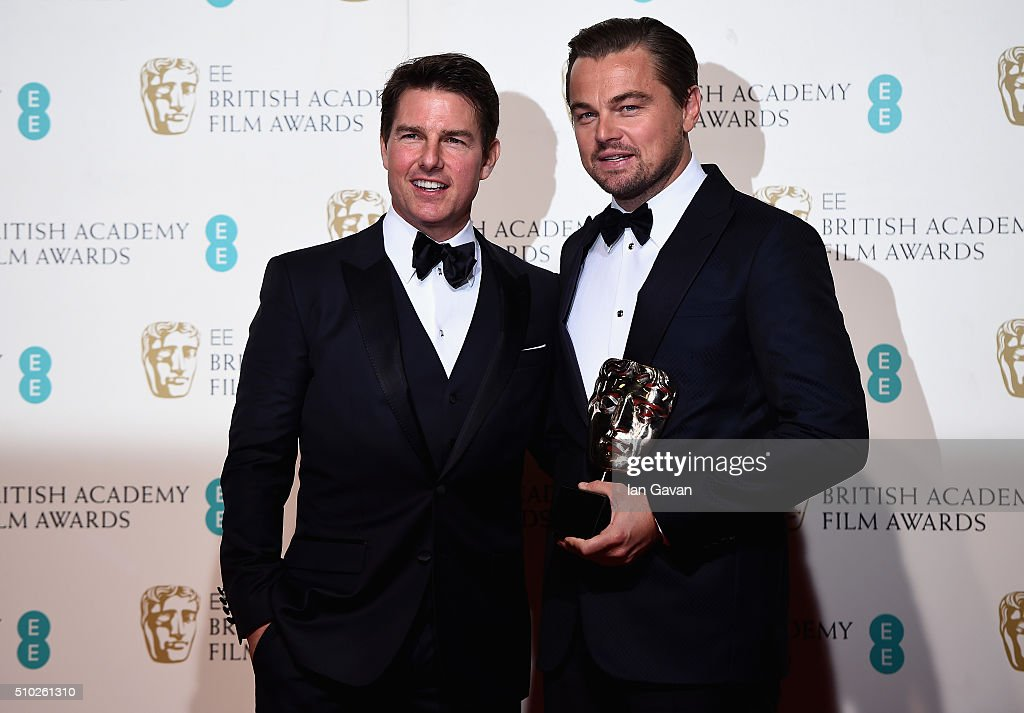 <a gi-track='captionPersonalityLinkClicked' href=/galleries/search?phrase=Tom+Cruise&family=editorial&specificpeople=156405 ng-click='$event.stopPropagation()'>Tom Cruise</a> and Leonardo Dicaprio, winner of Best Actor for 'The Revenant' pose in the winners room at the EE British Academy Film Awards at the Royal Opera House on February 14, 2016 in London, England.
