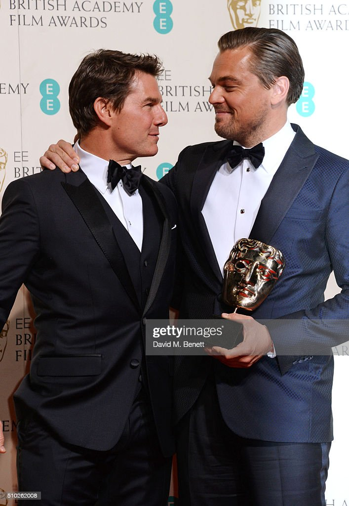 <a gi-track='captionPersonalityLinkClicked' href=/galleries/search?phrase=Tom+Cruise&family=editorial&specificpeople=156405 ng-click='$event.stopPropagation()'>Tom Cruise</a> (L) and <a gi-track='captionPersonalityLinkClicked' href=/galleries/search?phrase=Leonardo+DiCaprio&family=editorial&specificpeople=201635 ng-click='$event.stopPropagation()'>Leonardo DiCaprio</a>, winner of the Best Actor award for 'The Revenant', pose in the winners room at the EE British Academy Film Awards at The Royal Opera House on February 14, 2016 in London, England.