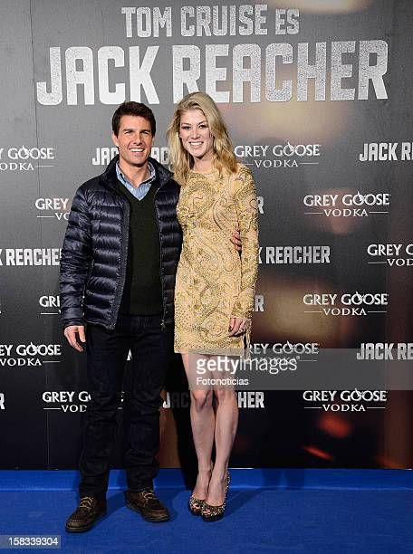 Tom Cruise and Rosamund Pike attend the premiere of 'Jack Reacher' at Callao Cinema on December 13 2012 in Madrid Spain