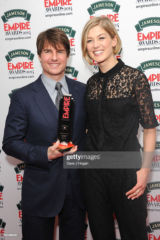 <a gi-track='captionPersonalityLinkClicked' href=/galleries/search?phrase=Tom+Cruise&family=editorial&specificpeople=156405 ng-click='$event.stopPropagation()'>Tom Cruise</a> and <a gi-track='captionPersonalityLinkClicked' href=/galleries/search?phrase=Rosamund+Pike&family=editorial&specificpeople=208910 ng-click='$event.stopPropagation()'>Rosamund Pike</a> poses in the press room at the Jameson Empire Film Awards 2014 at The Grosvenor House Hotel on March 30, 2014 in London, England.