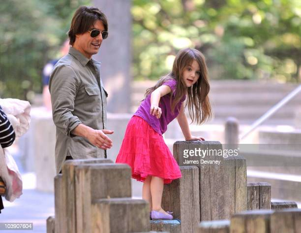 Tom Cruise and Suri Cruise visit a Central Park West playground on September 7 2010 in New York City