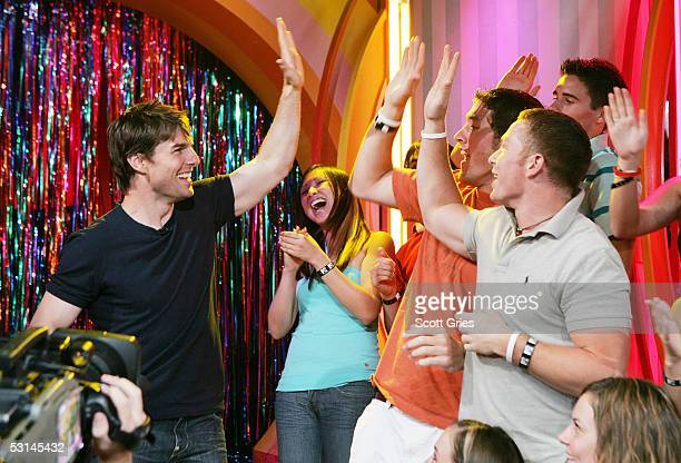 Tom Cruise appears onstage during MTV's Total Request Live at the MTV Times Square Studios June 24 2005 in New York City