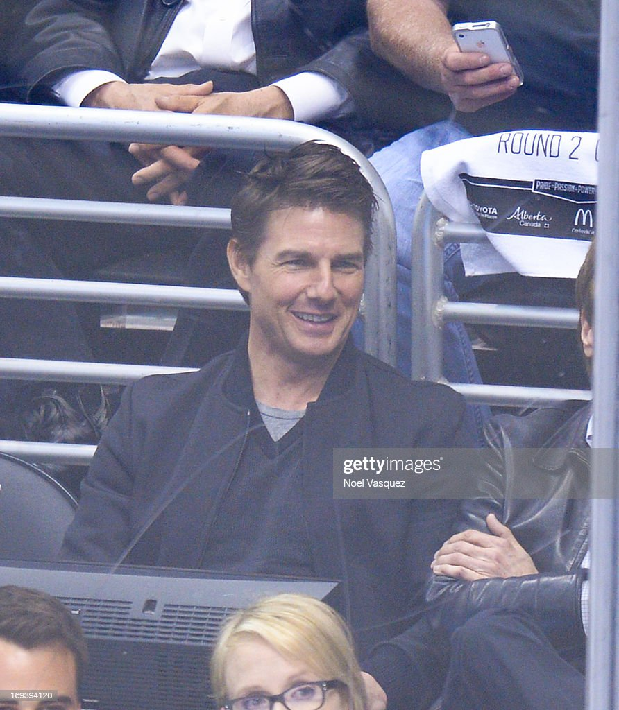 <a gi-track='captionPersonalityLinkClicked' href=/galleries/search?phrase=Tom+Cruise&family=editorial&specificpeople=156405 ng-click='$event.stopPropagation()'>Tom Cruise</a> attends an NHL playoff game between the San Jose Sharks and the Los Angeles Kings at Staples Center on May 23, 2013 in Los Angeles, California.