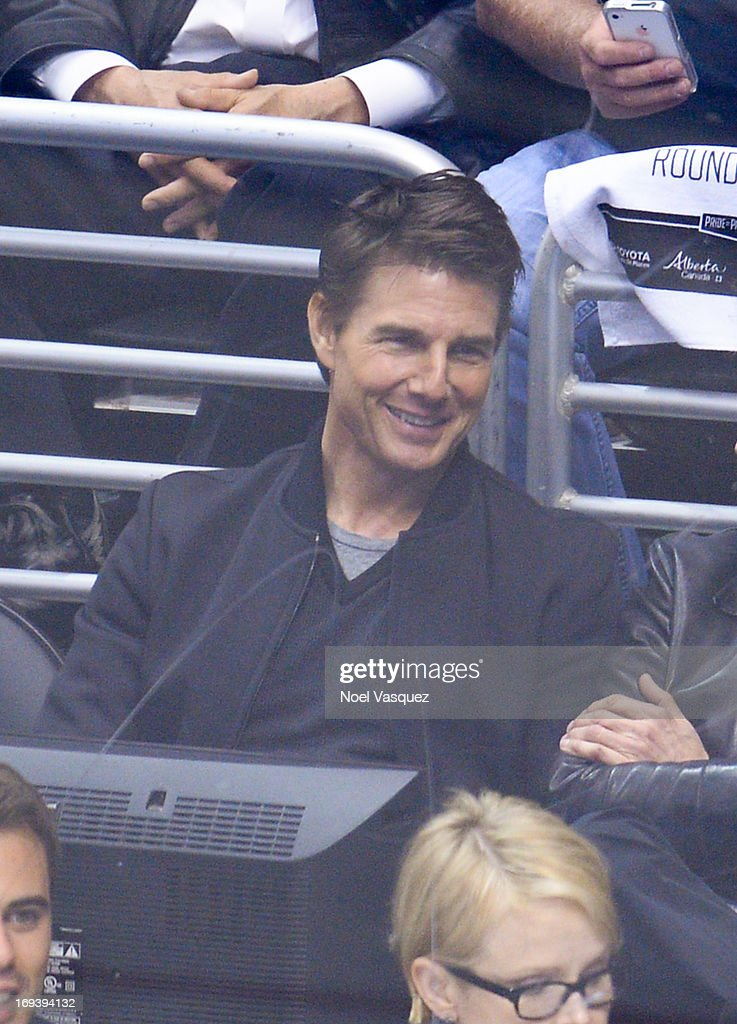 Tom Cruise attends an NHL playoff game between the San Jose Sharks and the Los Angeles Kings at Staples Center on May 23, 2013 in Los Angeles, California.