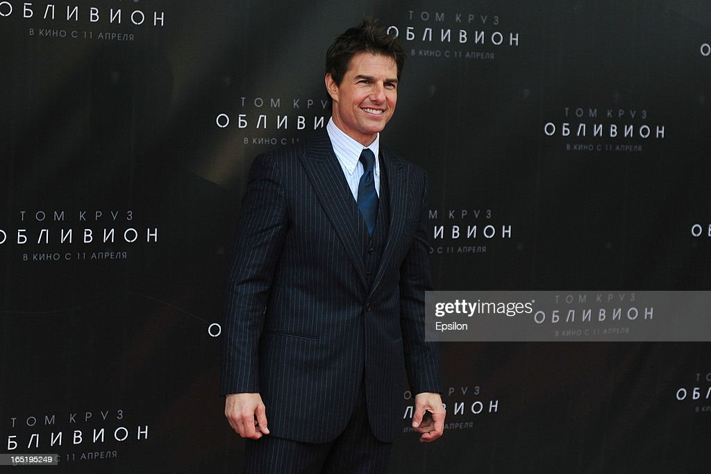 Tom Cruise attends the film premiere of 'Oblivion' at the Oktyabr cinema hall on April 1, 2013 in Moscow, Russia.