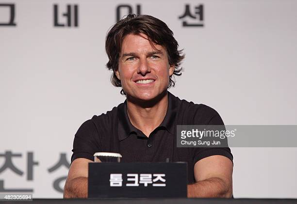 Tom Cruise attends the Press Conference and Photocall of 'Mission Impossible Rogue Nation' at the Grand Intercontinental Seoul Hotel at on July 30...