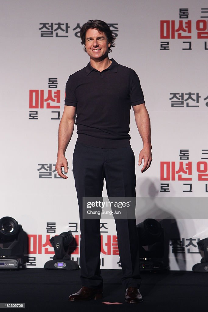 Tom Cruise attends the Press Conference and Photocall of 'Mission: Impossible - Rogue Nation' at the Grand Intercontinental Seoul Hotel at on July 30, 2015 in Seoul, South Korea.