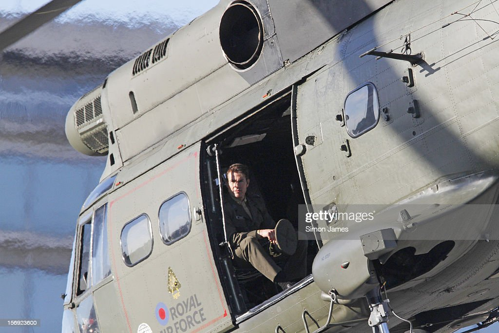 <a gi-track='captionPersonalityLinkClicked' href=/galleries/search?phrase=Tom+Cruise&family=editorial&specificpeople=156405 ng-click='$event.stopPropagation()'>Tom Cruise</a> is sighted flying in and RAF helicopter on set for the movie 'All You Need Is Kill' being filmed in Trafalgar Square on November 25, 2012 in London, England.