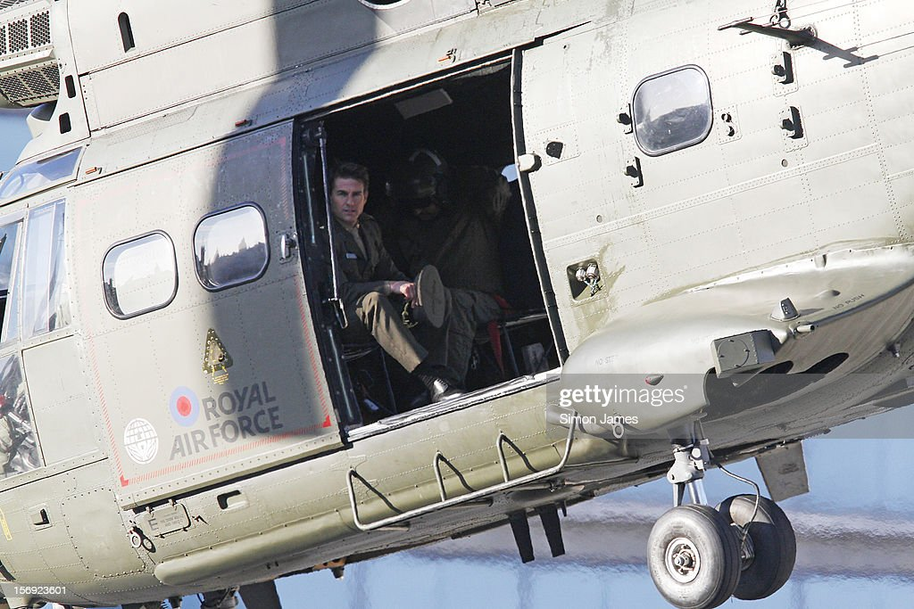 Tom Cruise is sighted flying in and RAF helicopter on set for the movie 'All You Need Is Kill' being filmed in Trafalgar Square on November 25, 2012 in London, England.