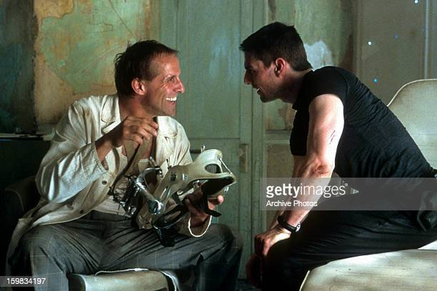 Tom Cruise laughs with Peter Stormare in a scene from the film 'Minority Report' 2002