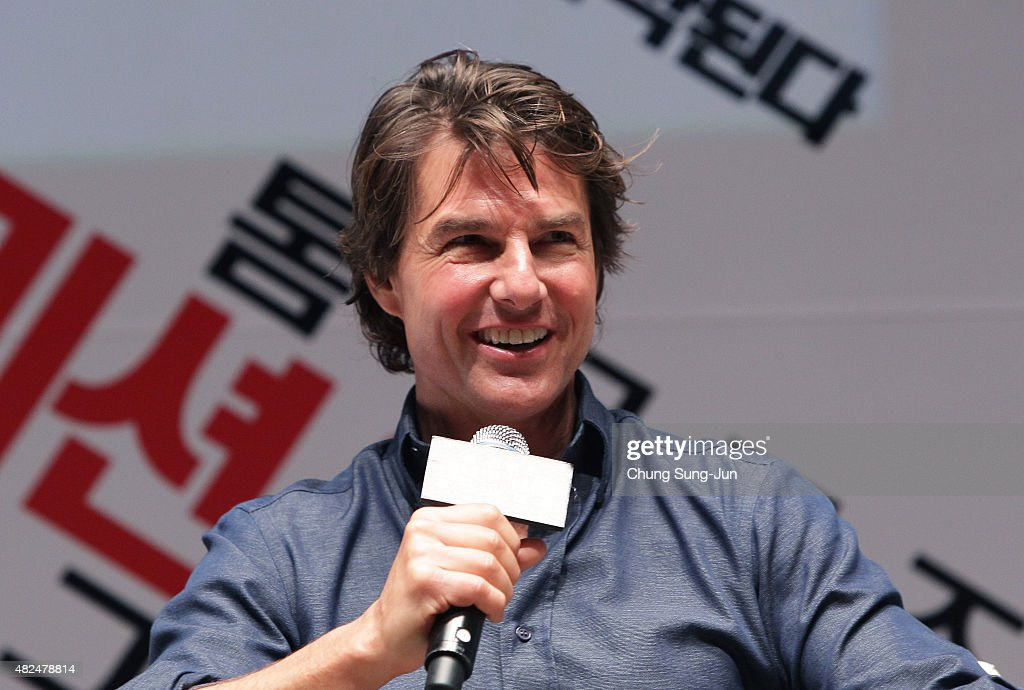 <a gi-track='captionPersonalityLinkClicked' href=/galleries/search?phrase=Tom+Cruise&family=editorial&specificpeople=156405 ng-click='$event.stopPropagation()'>Tom Cruise</a> makes a guest appearance at the screening of 'Mission: Impossible - Rogue Nation' at the Superplex G theater, which is largest theater screen in the world at Lotte World Tower Mall on July 31, 2015 in Seoul, South Korea.