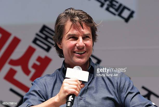 Tom Cruise makes a guest appearance at the screening of 'Mission Impossible Rogue Nation' at the Superplex G theater which is largest theater screen...