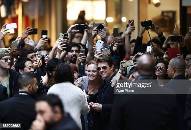 Tom Cruise meets fans during a photo call for The Mummy at World Square on May 23 2017 in Sydney Australia
