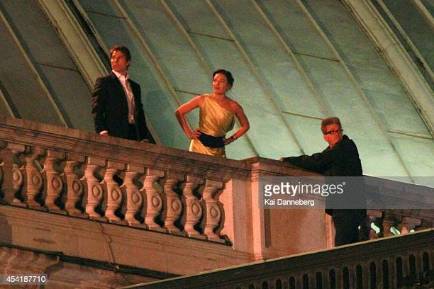 Tom Cruise Rebecca Ferguson and Director Christopher McQuarrie are seen on the set of 'MissionImpossible 5' on August 26 2014 in Vienna Austria