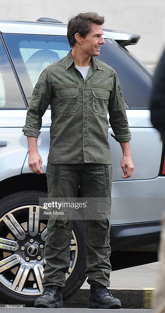 <a gi-track='captionPersonalityLinkClicked' href=/galleries/search?phrase=Tom+Cruise&family=editorial&specificpeople=156405 ng-click='$event.stopPropagation()'>Tom Cruise</a> seen on the film set of 'All You Need Is Kill' on February 2, 2013 in London, England.