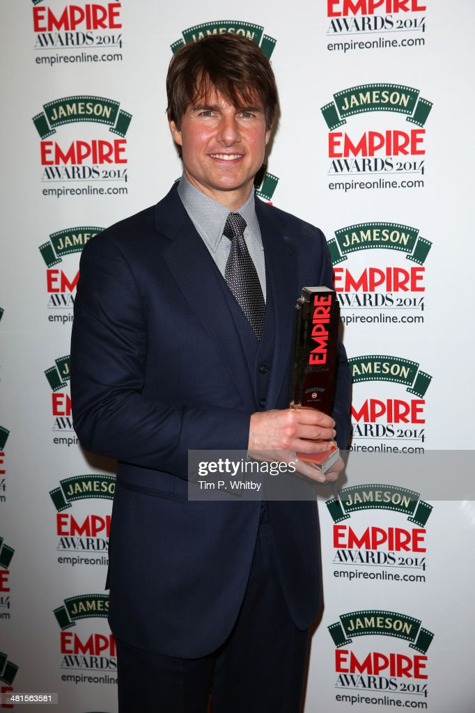 Tom Cruise with the 'Legend Of Our Lifetime' award during the Jameson Empire Awards 2014 at the Grosvenor House Hotel on March 30, 2014 in London, England. Regarded as a relaxed end to the awards show season, the Jameson Empire Awards celebrate the film industry's success stories of the year with winners being voted for entirely by members of the public. Visit empireonline.com/awards2014 for more information.