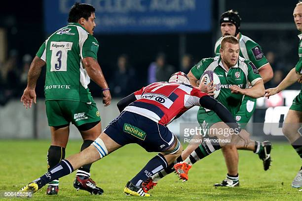 Tom Cruse for London Irish in action during the European Rugby Challenge Cup match between Agen and London Irish at stade Armandie on January 23 2016...