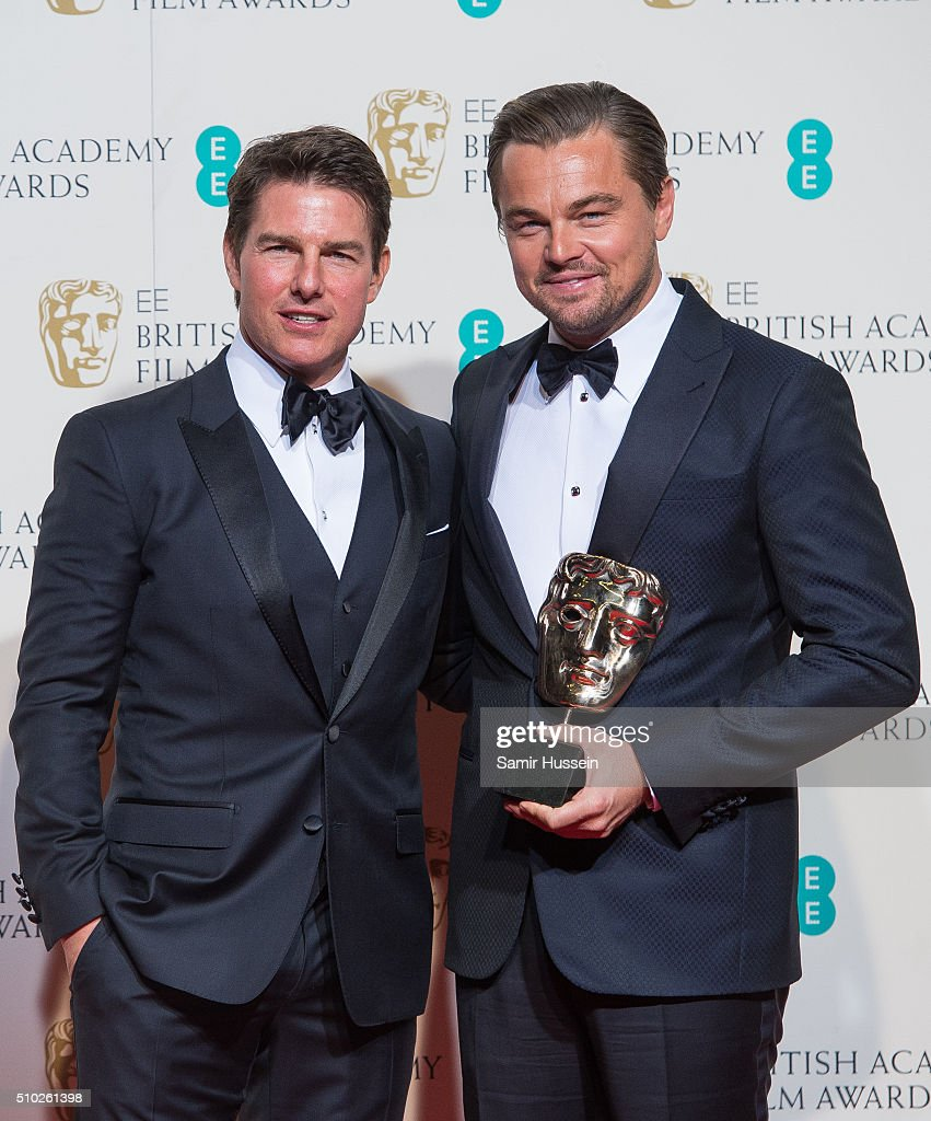 Tom Crusie and <a gi-track='captionPersonalityLinkClicked' href=/galleries/search?phrase=Leonardo+DiCaprio&family=editorial&specificpeople=201635 ng-click='$event.stopPropagation()'>Leonardo DiCaprio</a> pose in the winners room at the EE British Academy Film Awards at The Royal Opera House on February 14, 2016 in London, England.