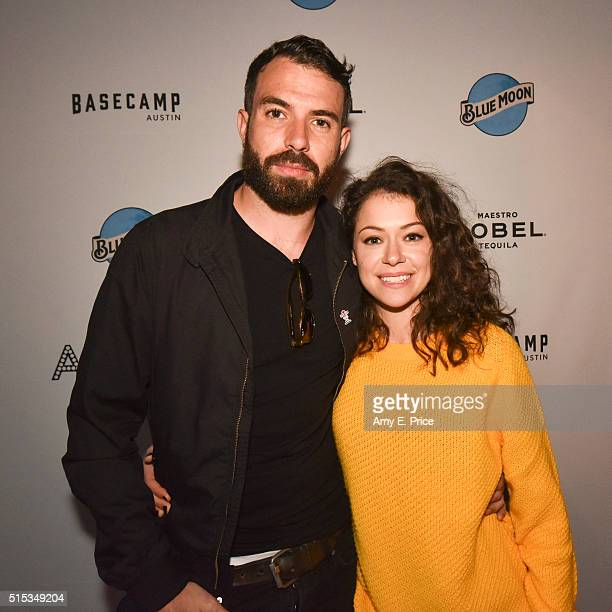 Tom Cullen and Tatiana Maslany appear at the prepremiere cocktail party for 'The Other Half' at Basecamp during SXSW on March 13 2016 in Austin Texas