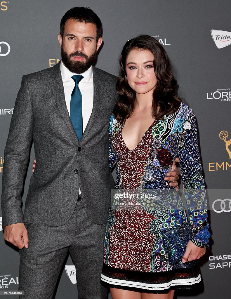 Tom Cullen and Tatiana Maslany attend the Television Academy reception for Emmy Nominees at Pacific Design Center on September 16, 2016 in West Hollywood, California.