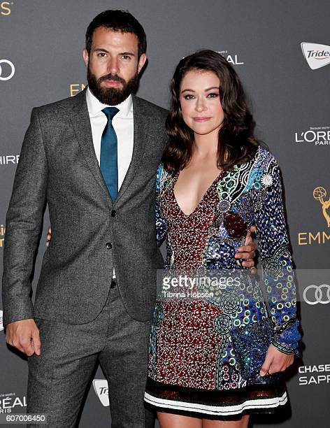 Tom Cullen and Tatiana Maslany attend the Television Academy reception for Emmy Nominees at Pacific Design Center on September 16 2016 in West...