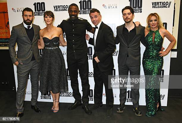 Tom Cullen Gemma Arterton Idris Elba Charlie Creed Miles Ryan Gage and Kierston Wareing attend the UK Premiere of '100 Streets' at the BFI Southbank...