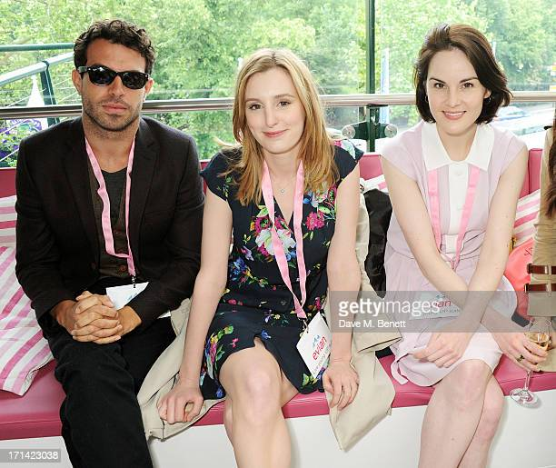 Tom Cullen Laura Carmichael and Michelle Dockery attend the evian 'Live Young' Suite at Wimbledon on June 24 2013 in London England