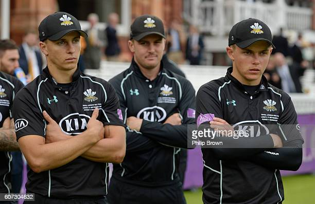 Tom Curran Jason Roy and Sam Curran of Surrey after Warwickshire won the Royal London oneday cup final cricket match between Warwickshire and Surrey...
