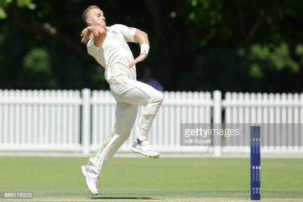 Tom Curran of England bowls during the Two Day tour match between the Cricket Australia CA XI and England at Richardson Park on December 10 2017 in...