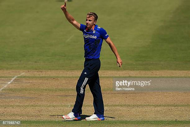 Tom Curran of England celebrates after dismissing Mohammad Abbas of Pakistan during the Triangular Series match between England Lions and Pakistan A...