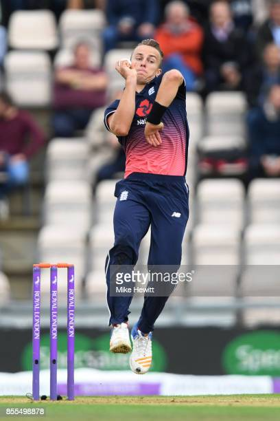 Tom Curran of England in action on his ODI debut during the 5th Royal London One Day International between England and West Indies at Ageas Bowl on...