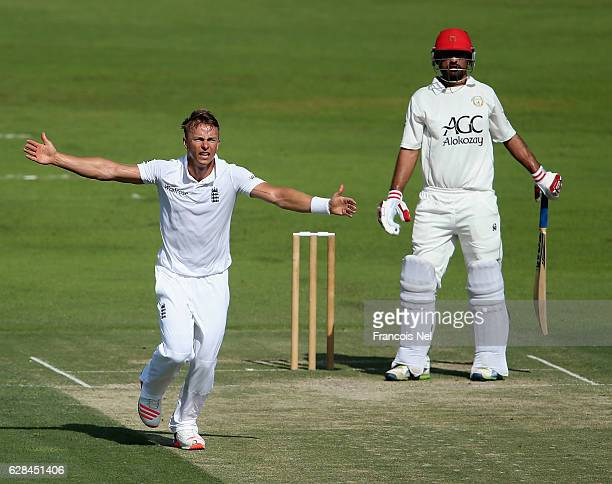 Tom Curran of England Lions appeals for the wicket of Javed Ahmadi of Afghanistan during day two of the tour match between England Lions and...