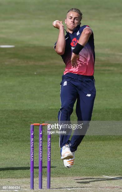 Tom Curran of England Lions in action during the One Day International match between England Lions and SouthAfrica A at The County Ground on June 3...