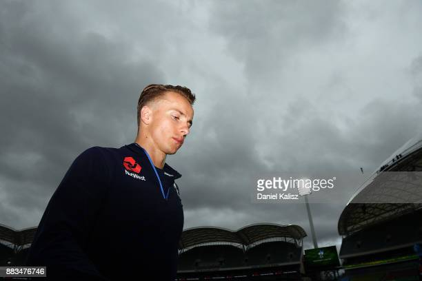 Tom Curran of England looks on during an England nets session at Adelaide Oval on December 1 2017 in Adelaide Australia