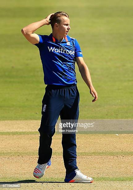 Tom Curran of England reacts during the Triangular Series match between England Lions and Pakistan A on July 19 2016 in Cheltenham England