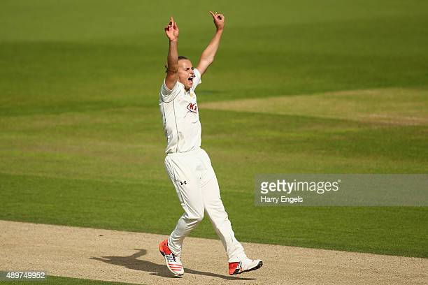 Tom Curran of Surrey appeals successfully for the wicket of Alex Wakely of Northamptonshire on day three of the LV County Championship Division Two...