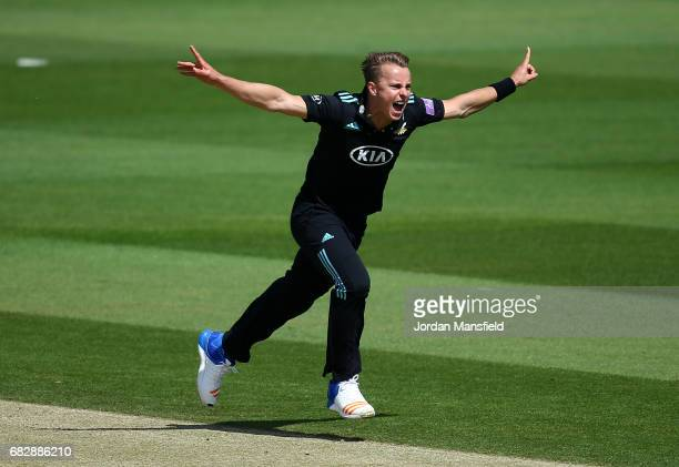 Tom Curran of Surrey appeals unsuccessfully during the Royal London OneDay Cup match between Surrey and Hampshire at The Kia Oval on May 14 2017 in...