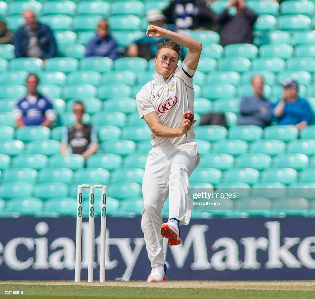 Tom Curran of Surrey bowling during the Specsavers County Championship Division One match between Surrey and Durham at the Kia Oval Cricket Ground, on May 02, 2016 in London, England.