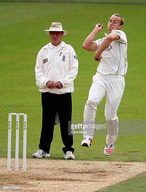 Tom Curran of Surrey bowls a delivery on day two of the LV County Championship Division Two match between Surrey and Derbyshire at The Kia Oval on...