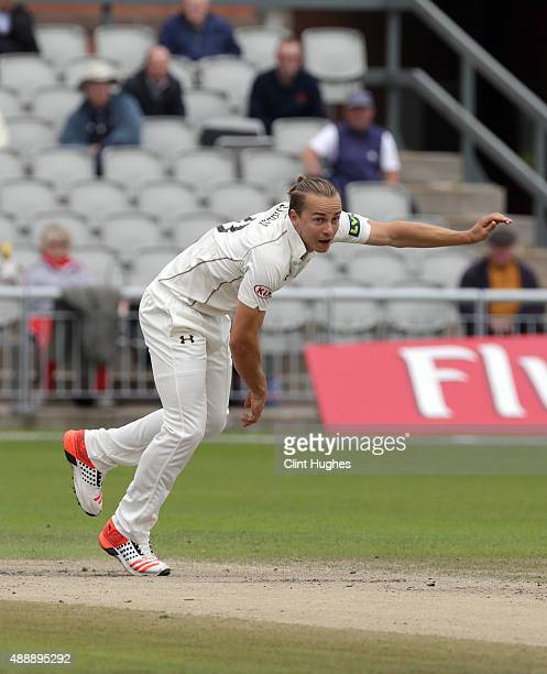 Tom Curran of Surrey bowls during day four of the LV County Championship Division Two match between Lancashire and Surrey at Emirates Old Trafford on...